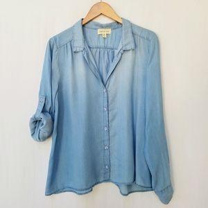 Cloth & Stone Chambray Denim Split Back Shirt Top